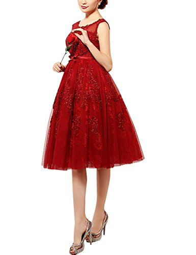 Find Dress Elégant Sexy Robe de Soirée/Bal Princesse Cérémonie Femme Mariage Courte sans Manches avec un Noeud de Papillon Taille Personnaliser en Tulle avec Broderie Rouge