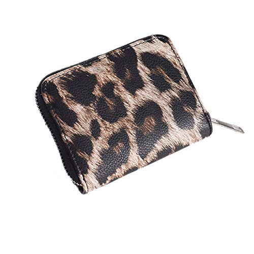 para la pequeña Carpeta del Embrague de Tarjetas Monedero de Cuero de la PU de Las Mujeres del Leopardo de la Moneda de la Cremallera Carpetas del portatarjetas