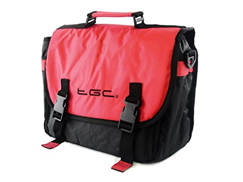 New TGC    Messenger Style TGC Padded Carry Case Bag for The ieGeek 11  Portable DVD Player  Crimson Red   Black