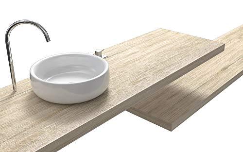 Ve.ca.s.r.l. mensole lavabo in legno laminato colore rovere vintage, anche su misura, incluse staffe di fissaggio a parete 100% made in italy, resistenti ad acqua ed umidità (140x50x8 cm)