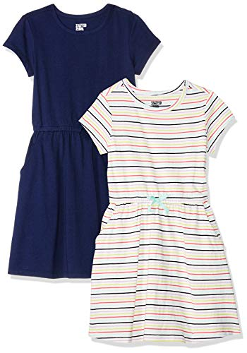 Spotted Zebra Toddler Girls' 2-Pack Knit Short-Sleeve Cinch Waist Dresses, Multi Stripe/Navy, 3T -