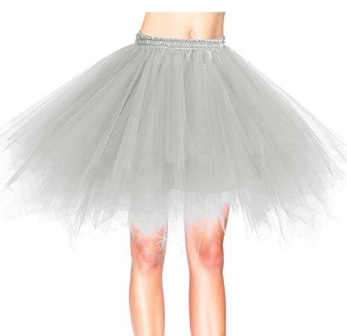 Dresstells Damen Tutu Unterkleid Kurz Ballett Tanzkleid Ballklei Abendkleid Gelegenheit Zubehör Grey L (Billige Tutus)