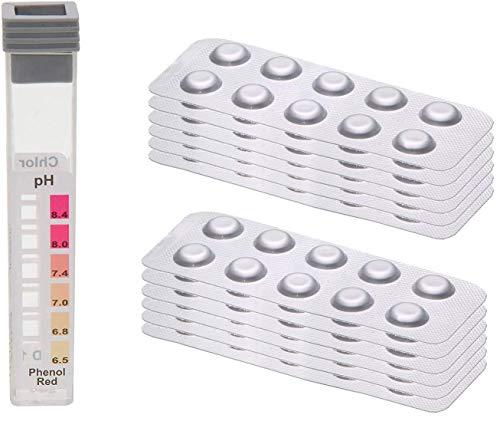 POWERHAUS24 120 Testtabletten - je 60 x pH-Wert Phenol Red und 60 x DPD1 Chlor - inkl. 1 x Messkammer