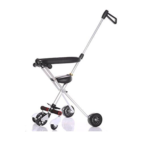 ZHAOJING L'aluminium se pliant de tricycle de bébé à cinq roues de trolley simple et facile (Couleur : Silver)