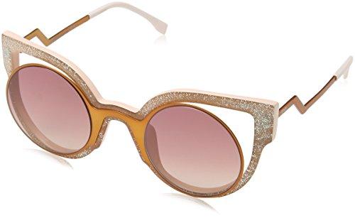 Fendi ff 0137/s 4c nug, occhiali da sole donna, arancione (orng glttrpk/red ss), 49