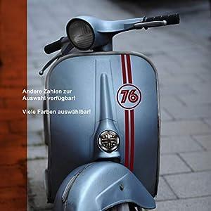 Aufkleber Banderole Startnummer Zahl für Vespa Lambretta Roller retro, Wunschzahl -größe; oval oder rund; viele Optionen