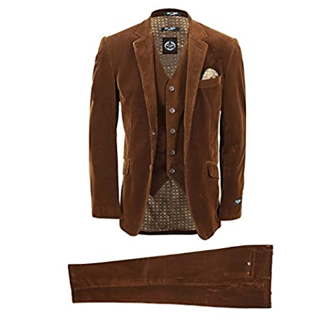 XPOSED Mens 3 Piece Suit Rust Brown Vintage Corduroy Smart Casual Fitted Blazer Waistcoat Trousers [Chest UK 50 EU 60,Trouser 44
