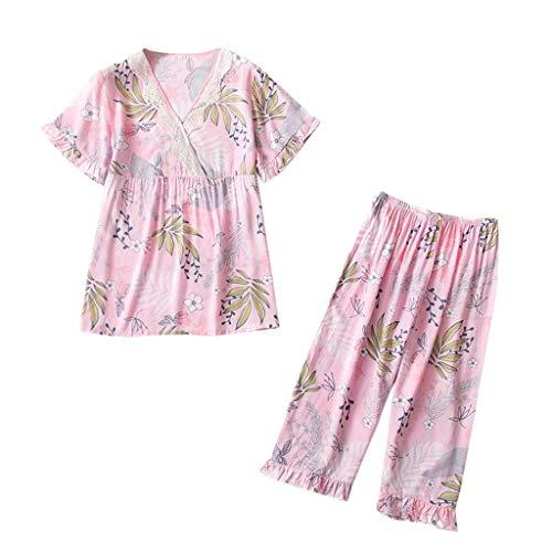 TOPKEAL Sommer Damen Mode Druckmuster Pyjamas Nachtwäsche Nachtwäsche 2PC Set Pyjama Schlafanzug Sleepwear Nachtkleid Dessous Mode 2019