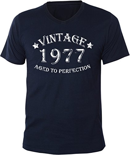 Mister Merchandise Uomo V-Neck T-Shirt Vintage 1977 - Aged to