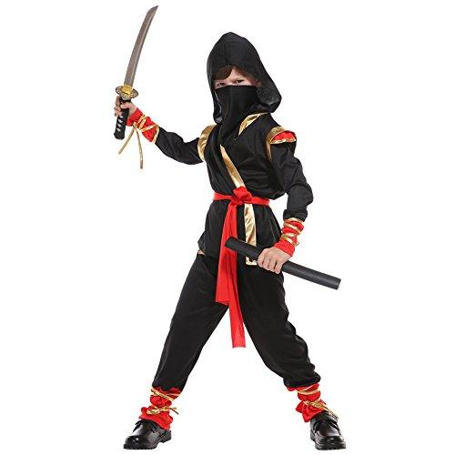 Jungen Stealth Kostüm Ninja - LOLANTA Jungen Ninja Warrior Kostüm Kinder Ninja Avengers Schwarz Kostüm Halloween Shinobi Kostüm
