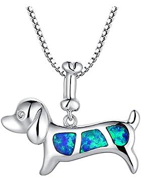 Arco Iris Schmuck Sterling Silber Hund und Knochen mit Erstellt Blau und Grün Feuer Opal und Zirkonia Anhänger...