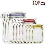 TOROTON Mason Jar Bottles Bags, Food Storage Snack Sandwich Ziplock Bags, Reusable Airtight Seal Food Storage