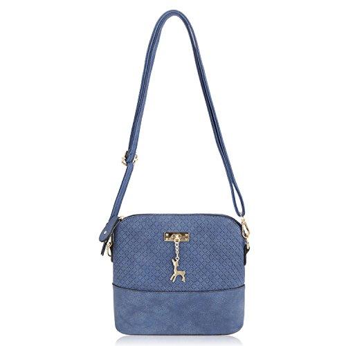 Damen Mädchen Fashion Klassiker Umhängetasche Elegant Hobo Geprägte Leder-Kurier Handtasche Schultertasche Blau
