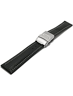 Meyhofer Uhrenarmband Drayton 24mm schwarz Leder genarbt helle Naht mit Faltschließe MyHeklb90/24mm/schwarz/hN/FS