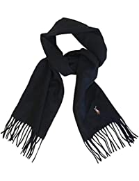 Polo Ralph Lauren Mens Wool Scarf Black Made In Italy