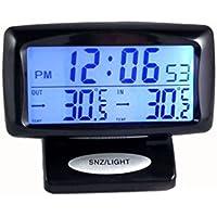 CARGOOL Digital Car Thermometer Clock Medidor de temperatura del vehículo Medidor de temperatura interior y exterior con retroiluminación LED, Negro