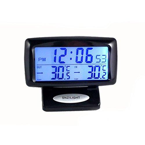 CARGOOL Digital Auto Thermometer Uhr Fahrzeug Temperaturanzeige Indoor und Outdoor Temperatur Meter mit LED Hintergrundbeleuchtung, schwarz
