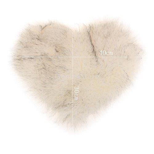 Homyl Weiche Künstliche Schaffell Teppich Sitzkissen Stuhlkissen Herzform, in 13 Farben - Weiß grau