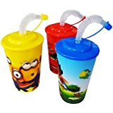 Kabello Cartoon Design Sipper For Baby, Sipper Glass With Straw & Lid For Toddlers & Baby Girls, Kids Gift Multicolored, 30 Grams, Pack Of 1