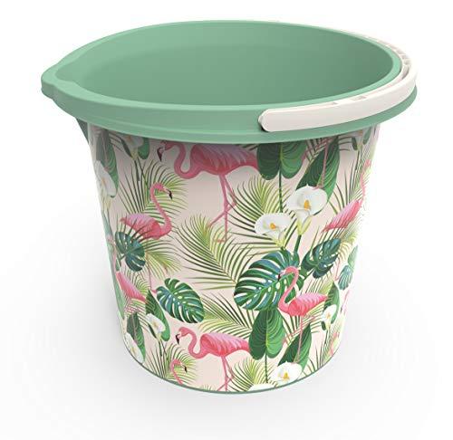 Rotho Vario Art Eimer 10 l, Kunststoff (PP), grün mit Motiv'Flamingo', 10 Liter/Durchmesser 29 cm Universaleimer, 29.2 x 29.2 x 25.9 cm 10-Einheiten