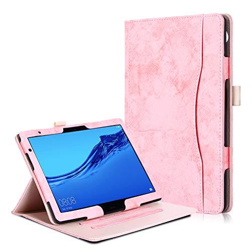 Huawei MediaPad T5 10 / M5 Lite 10 Hülle - PU Lederhülle Schutzhülle Cover Tasche mit Stylus-Halterung für Huawei MediaPad T5 / M5 Lite Tablet-PC (25,6 cm, 10,1 Zoll) 2018 Modell, Rosa