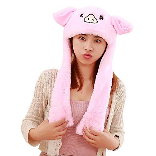 Missley Bewegung Hut Lustig Schwein Ohr Hut Schön Tier Cosplay Stirnband Weich Plüsch Spielzeug zum Frau Mädchen (Schwein)