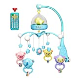 xMxDESiZ 0-12 Mois bébé télécommande Musical tournant lit Berceau Mobile hochet Cloche Jouet Bleu