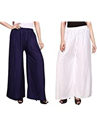 Mango People Products Indian Ethnic Rayon Designer Plain Casual Wear Palazzo Pant For Women's ( Navy Blue & White...