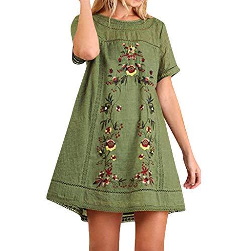 Strung Frauen Sommer Stitching Baumwolle und Leinen Bestickt Rock böhmischen kurzärmeligen Kleid Lange Rundhalsausschnitt Kurzarm Tops - Sommer Bestickt Rock