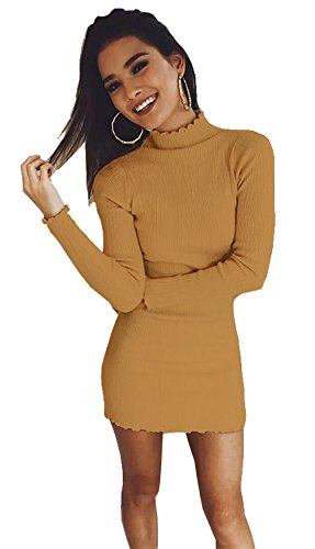 Longwu Frauen Slim Fitted Pullover Kleid Lotus Leaf Knit Bodycon Turtleneck Tops Bluse Jumpers Braun-M (Knit Top Creme)