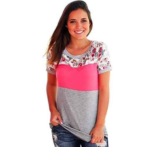 YANAIX Sommer Frauen T-Shirts Baumwolle Mischung Mädchen Print Short Sleeve T-Shirt Floral Frauen O Neck T-Shirts Patchwork Casual Blusen -
