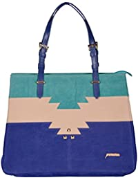 Perwin Women's Handbag Blue And White Colour