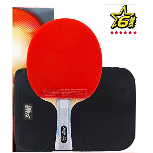 SSHHI 6-Sterne-Tischtennisschläger, 5-Lagen-Hartfaserplatte, offensives Tischtennis, Indoor- oder Outdoor-Spiele/Wie gezeigt/Kurzer Griff