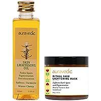 AURAVEDIC Skin Lightening Oil & Skin Lightening Face Pack. Bye Bye Pigmentation (Combo), 100 Ml & 100 Gm. Saffron Oil…