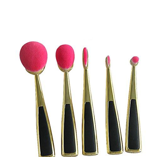 Maquillage Brosse, 5 Pcs / Ensemble Creative Combination avec Base Maquillage Brosse Mélange Poudre Ombre à Paupières Contour Concealer Beauté Cosmétique Pinceau Jouet Portable Outil Kit 4 Couleurs ( Color : Gold Pink )