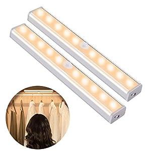 OUSFOT Schrankleuchten mit Bewegungsmelder Schrankbeleuchtungen LED Kabellos Kleiderschrank mit 4 Magnetstreifen Warmweiß 2PC Verpackung MEHRWEG