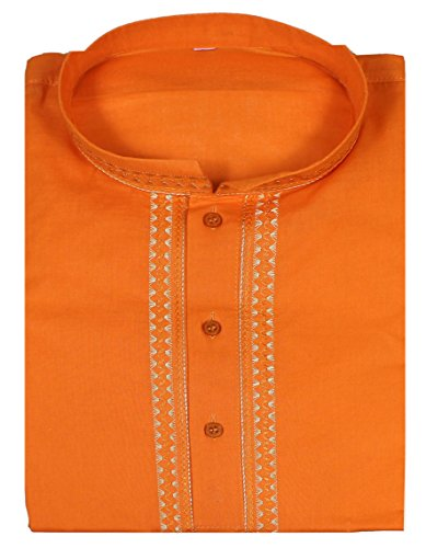 mens-casual-shirt-cotton-short-sleeve-orange-indian-embroidered-summer-dress-xl