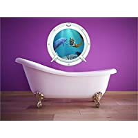 Red Parrot Graphics Dolphin and Mermaid sea ocean Porthole wall art sticker decal full colour print (Large 59cm x 59cm) DM1