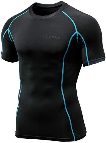 TSLA Herren Kurzarm T-Shirt Cool Dry Compression Baselayer, Athletic(mub23) - Tron, Large -