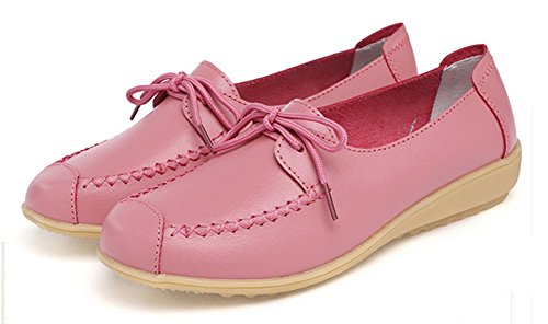 Easemax Femme Confortable Talon Bas Bout Rond Mocassins Rose