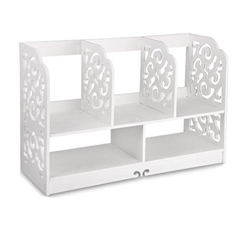 Finether kleines Regal Bücherregal Aufsatzregal Aufbewahrungsregal Tisch-Organizer für Wohnzimmer Badezimmer zur Aufbewahrung von BücherDekoartikel Toilettenartikel Kosmetik aus WPC wasserdicht 60 x 22 x 38 cm weiß (Bücherregal Home-office-möbel)