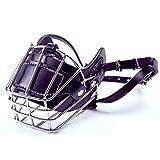 DJLOOKK Hundemaulkorb, Einstellbare Metallmaske Anti-Biss-Draht Pleather Starker Korb Breathable Safety Protection Cover Medium/Large Haustiere