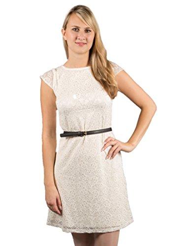 Damen Umstandskleid Spitzenkleid Maternity Kleid Ärmel Jerseykleid Schwangerschafts Kleid Empire Kleid Elfenbein