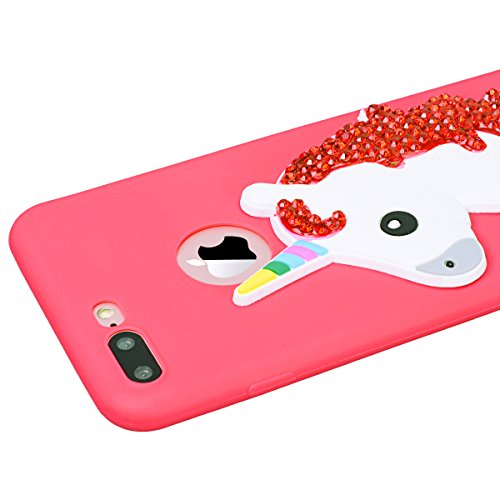 WE LOVE CASE Coque iPhone 7/ iPhone 8, Souple Brillo Brillant Diamond Strass Bonbon Unicorn Candy Blanc Gel Coque iPhone 7 Silicone Motif Fine Coque Girly Resistante, Coque de Protection Bumper Offici Rouge