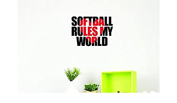 Design with Vinyl US V JER 3911 2 Top Selling Decals Softball Rules My World Wall Art Size 14 Inches X 28 Inches Color Multi 14 x 28