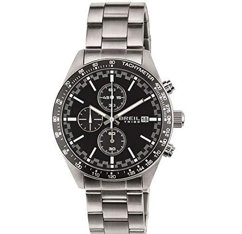 Breil orologio uomo fast quadrante mono-colore nero movimento chrono quarzo e bracciale acciaio ew0322