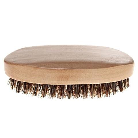 sicai Bartbürste, Professional Herren Bart und Schnurrbart Bürste mit weichen Wildschweinborsten Holzgriff Pinsel für Bart Styling beige