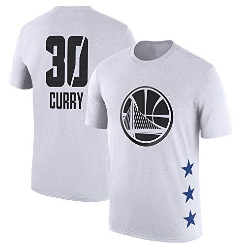 Herren T-Shirt NBA Golden State Warriors Stephen Curry Jersey Rundhalsausschnitt-Breathable Basketball Bekleidung für die Jugend Top Bequeme Sport-T-Shirt White-S - Die Jugend Weiß Basketball T-shirt