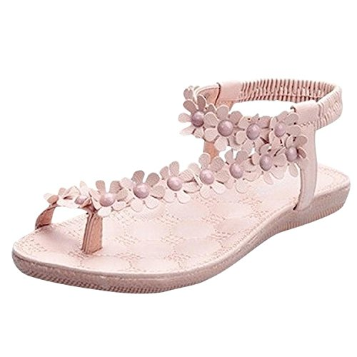 Minetom Donne scarpe casual Infradito Piatte con Fiori Sandali Elastici Boemi Dolci d'estate Accessorio Vacanza Rosa 1