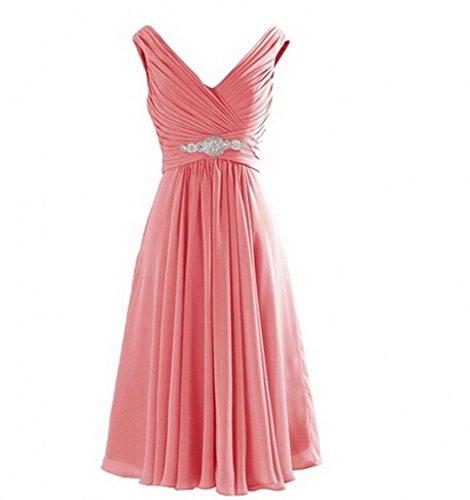 Milano Bride Einfach V-ausschnitt Chiffon A-linie Abendkleider Partykleider Abiballkleider Brautjungfernkleider Kurz Wassermelon